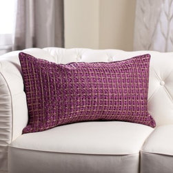 Edie Inc. Luxe Double Grid Cord Decorative Pillow - Purple - Opulent cording in gorgeous shades of purple make the Edie Inc. Luxe Double Grid Cord Decorative Pillow - Purple a stylish way to transform the look of your living space or bed ensemble. This rectangular throw pillow features a corded double-grid pattern that adds texture and a handy side zipper for easy access to the plump feather and down insert.About Edie, Inc. LuxeCreated by former fashion designer, Edie Roberts, Edie, Inc., Luxe is a home accessory collection inspired by spirited and unconventional fabric mixes with couture detailing. Edie wants to bring you unique design sensibility and elegant detailing not typically seen in home decor. This collection includes decorative pillows and cushions for both indoors and out, fashion bedding, fun pet beds, and accessories filled with detail, color, and textures. Hand detailing, embroidery, tucking, laser-cutting, and silk cording find homes in looks that range from traditional to transitional to modern.
