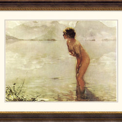 Amanti Art - September Morn Framed Print by Paul Chabas - When it was exhibited in Paris back in 1912, this painting created sensation. The artist's intimate portrayal of a young, demure bather at sunrise is memorable for the ethereal landscape that envelops her and for the bashful charm of sunbeams revealing the outline of her body.