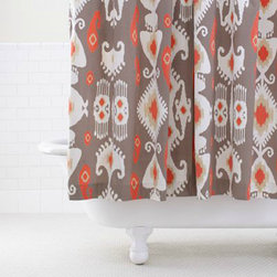 Grey/Coral Ikat Shower Curtain - I simply love Ikat. It's basically my favorite print. There's just something so tribal and special about it. This curtain is chic and beautiful in design. The gray and coral provide high contrast, and you get a lot of bang for your buck with this curtain.