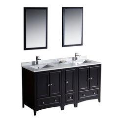 "Fresca - Fresca Oxford 60"" Espresso Traditional Double Sink Bathroom Vanity w/ Side Cabin - Fresca Oxford 60"" Espresso Traditional Double Sink Bathroom Vanity w/ Side Cabinet"