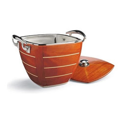 Frontgate - Nautical Ice Bucket and Lid - Wood paneled exterior finished in rich mahogany stain. Beverage Tub and Ice Bucket also feature a 304 stainless steel liner. Stainless steel handles echo the look of classic boat cleats. Beverage tub chills up to 24 bottles with ample room for ice. Ice bucket keeps ice cubes within reach and includes a matching lid. Inspired by the vintage wood-hulled speedboats of the 1930s, we designed our exclusive Yacht Club Entertaining Collection as a tribute to that classic era of nautical luxury. Each piece boasts an exterior of handsome wood panels finished with five layers of rich mahogany stain that enhances the wood grain to create eye-catching serving pieces worthy of the captaina??s table. . . . . . Stylish tray is perfect for serving hors da??oeuvres or drinks .