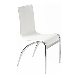 """Apt2B - Kenilworth Floating Chair, White, Set of 4 - Everything about these chairs is ultramodern cool, from the undulating wave-form seat and back laminated in slick leather to the tapered chrome legs that curve toward the back but never touch the seat. Weightlessly """"floating"""" around the table, they will give the room an airy, futuristic vibe. Try them in clean white, cream, dark brown, black or racy red."""