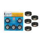 Black Halogen 20 Watt 5-Pack Puck Light Kit -