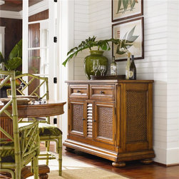 Island Estate Antigua Server With Woven Cane Panels -
