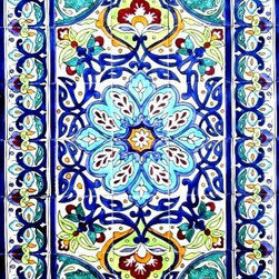 "Hand Painted Mosaic Murals - Beautiful decorative mosaic mural. Total size of mural 30"" wide x 48"" height. Hand painted in Tunisia, a southern Mediterranean country. Mosaic panel consist of 40 ceramic tiles, each tile is 6"" x 6"" x 0.25 thick. Ceramic tiles are fired twice between 500-600 degrees in a ceramic oven. Murals have a colorful and glossy finish. Ceramic tiles are scratch resistant, water and fade resistant. Great for indoor or outdoor use. Easy set up and Heavy duty. Ref; CCT1361"