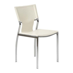 Eurostyle - Eurostyle Vinnie Side Chair in White Leather & Chrome [Set of 4] - Side Chair in White Leather & Chrome belongs to Vinnie Collection by Eurostyle The Vinnie Leather Side Chair is a modern contemporary chair with clean line. It features strong chromed steel frame and black or white leather seat and back. Simple and elegant, this versatile chair is a fashionable solution for any designed room of your home or office. Side Chair (4)