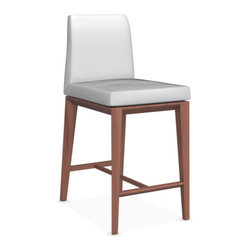Calligaris - Bess Counter Stool, Walnut Legs, Optic White - Beech Wood Base