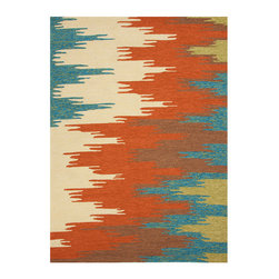 Colours Rust Hand Hooked Rug 2.6' x 8' - Fields of energetic color fill the hand-hooked surface of this indoor-outdoor rug, a bold transitional design which coyly scales up and re-thinks a vintage design to create a novel, eye-catching statement look. Perfect for adding a pop of color with hues derived from metallic patinas but saturated and isolated to become freshly their own, the rug beautifully recalls tribal patterns in its unusual design.