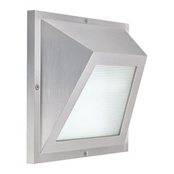 """CSL - Edge LED Satin Aluminum 6"""" High ADA Outdoor Wall Light - This contemporary outdoor wall light offers smart styling with a sleek geometric design. This piece starts with aluminum construction and is presented in a gorgeous satin aluminum finish. The Edge wall light features a linear prismatic glass diffuser for an interesting look. It's energy efficient too thanks to LED technology. With a color temperature of 3000K the Edge LED offers warm natural light. This attractive design is a great choice for adding light and style to your exterior. Satin aluminum finish. Aluminum construction. Rated for wet locations. ADA compliant. Includes four 1 watt LED 3000K. 6"""" square. Extends 2 1/2"""" from the wall.  Satin aluminum finish.   Aluminum construction.   Rated for wet locations.   ADA compliant.   California Title 24 compliant.  Includes four 1 watt LED 3000K.   6"""" square.   Extends 2 1/2"""" from the wall."""