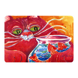 Caroline's Treasures - Big Red Cat At The Fishbowl Kitchen Or Bath Mat 24X36 - Kitchen or Bath COMFORT FLOOR MAT This mat is 24 inch by 36 inch.  Comfort Mat / Carpet / Rug that is Made and Printed in the USA. A foam cushion is attached to the bottom of the mat for comfort when standing. The mat has been permenantly dyed for moderate traffic. Durable and fade resistant. The back of the mat is rubber backed to keep the mat from slipping on a smooth floor. Use pressure and water from garden hose or power washer to clean the mat.  Vacuuming only with the hard wood floor setting, as to not pull up the knap of the felt.   Avoid soap or cleaner that produces suds when cleaning.  It will be difficult to get the suds out of the mat.