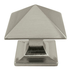 "Stone Harbor Hardware - Livingstone Cabinet Knob, Satin Nickel - With its crisp, geometric lines, the Livingstone knob is reminiscent of the Art Deco era. The knob is named for the William Livingstone Memorial Lighthouse in Michigan and is available in satin nickel and flat black. The square knob measures 1-1/4"" across and has a 1-1/4"" projection. Includes 1"" screws."