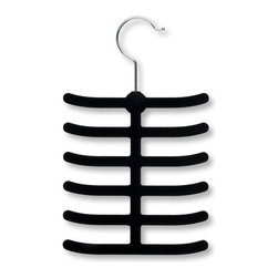 Honey Can Do - Storage Tie and Belt Hanger - Set of 20 - Set of 20. 360 degree swivel rod hook. 12 hooks. 0.25 in. profile saves valuable space. Lifetime limited warranty. Made from velvet and steel. Black finish. No assembly required. 11.25 in. L x 8.5 in. W x 6 in. H (4 lbs.)This versatile tie and belt hanger gets your belts, ties, scarves, and jewelry organized and easily accessible. Velvet coating is gentle on delicate fabrics and leather, plus provides a non-slip surface that holds items in place. Space-saving design makes the most use of available hanging space.