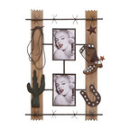 Benzara - Western Style Wood Metal Wall Photo with Two Photo Frames - Adding great style to your home decor, this wall photo frame displays a trendy and fashionable look upon the walls of your home. Creatively designed, it features two broad wooden planks that are highly polished. Attached to the wooden panel are two photo frames for displaying the cherished images of your loved ones. These gorgeous frames are made of metal and are designed in a unique pattern. Moreover, it is further decorated with adornments of a western outfit that includes a cowboy shoe. The cactus plant, horseshoe and the lasso attached on the photo frame together creates a feeling of the western world and takes your imagination to that far-off land. Provided with two photo frames, it is ideal to insert the photos of a loving couple in a western style. Elegantly crafted with solid wood and high quality metal, it is highly durable and is sure to remain fresh for a longtime..