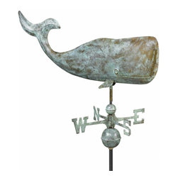 "G.D. - Good Directions 37"" Whale Weather Vane - Blue Verde Copper - Thar he blows in the breeze! The largest mammal that ever lived, this whale design, circa 1860, is sure to impress on the rooftop of your house, barn, garage, or cupola. Our Good Directions' artisans use Old World techniques to handcraft this fully functional, extra-large weathervane that's unsurpassed in style, quality and durability. A great gift for folk art enthusiasts!"