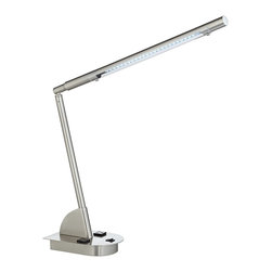 """Lamps Plus - Contemporary Alayna Adjustable LED Desk Lamp with Power Outlets - Adjustable LED desk lamp with power outlets. Brushed steel finish. Metal construction. Black on/off rocker switch. Two convenience power outlets on the base. Neoprene base pad on the bottom. Includes 5 watt LED module. 17 1/4"""" high max.  Adjustable LED desk lamp with power outlets.  Brushed steel finish.  Metal construction.  Black on/off rocker switch.  Two convenience power outlets on the base.  Neoprene base pad on the bottom.  Includes 5 watt LED module.  17 1/4"""" high max."""
