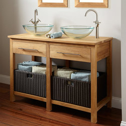"48"" Sylmar Teak Double Vessel Sink Console Vanity - Increase your bathroom storage and raise your style quotient with the 48"" Sylmar Console Vanity. This durable double vanity provides ample space for towels."
