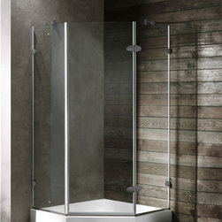Vigo - VIGO VG6061BNCL38 Neo-Angle Shower - Both dramatic and space-saving, the VIGO frameless neo-angle shower enclosure creates a beautiful focal point for your bathroom.