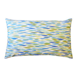 JITI - Small Panema Blue Pillow - 12x20 Panema Blue Pillow. 100% Cotton. Invisible Zipper. Dry Clean Only. Insert is 95% feathers and 5% down