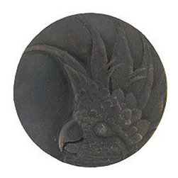 "Inviting Home - Small Cockatoo Knobs - right (dark brass) - Hand-cast Small Cockatoo Knobs - right in dark brass finish; 1-3/8"" diameter Product Specification: Made in the USA. Fine-art foundry hand-pours and hand finished hardware knobs and pulls using Old World methods. Lifetime guaranteed against flaws in craftsmanship. Exceptional clarity of details and depth of relief. All knobs and pulls are hand cast from solid fine pewter or solid bronze. The term antique refers to special methods of treating metal so there is contrast between relief and recessed areas. Knobs and Pulls are lacquered to protect the finish. Alternate finishes are available. Detailed Description: If you are intrigued by fashionable and playful accessories than you will love the Cockatoo pulls - they come in vertical and horizontal options which would bring amazing variety without having to search at all. You can use the vertical pulls on the cabinet doors and the horizontal pulls on the drawers. If you have any smaller drawers you could also work in the Cockatoo Knobs making it a complete collection while displaying variety."