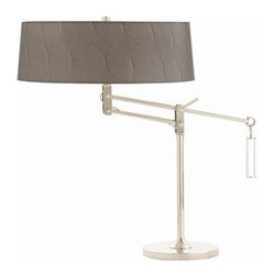 Arteriors Home - Arteriors Home Jacqueline Nickel/Acrylic Adjustable Desk Lamp - Arteriors Home 4 - Drum roll, please! You'll beat your drum loudly when you bring in this adjustable, double socket, nickel and acrylic desk lamp. The drum-shaped, gunmetal gray shade is detailed with circular pattern embossing and pewter lining which diffuses the light for the task at hand.