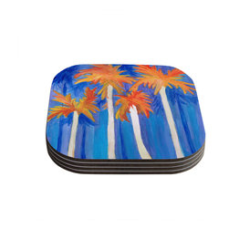 """Kess InHouse - Rosie Brown """"Florida Autumn"""" Blue Orange Coasters (Set of 4) - Now you can drink in style with this KESS InHouse coaster set. This set of 4 coasters are made from a durable compressed wood material to endure daily use with a printed gloss seal that protects the artwork so you don't have to worry about your drink sweating and ruining the art. Give your guests something to ooo and ahhh over every time they pick up their drink. Perfect for gifts, weddings, showers, birthdays and just around the house, these KESS InHouse coasters will be the talk of any and all cocktail parties you throw."""