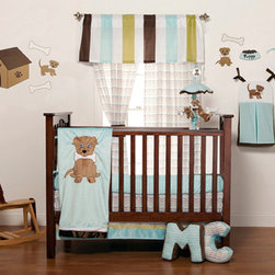 "Puppy Pal Boy - Infant Set (3pc no bumper) - Let the Puppy out to play with ""One Grace Place"" Puppy Pal Boy collection.  This 3 pc set includes crib bed skirt, crib sheet and coordinating quilt (BUMPER SOLD SEPARATELY).  Crib sheet in the collections signature print ""Give a Dog a Bone"" cotton print fabric in soft blue.  Bed skirt showcases ""One Grace Place"" Doggy Dip Blue cotton print fabric trimmed in blue and green minky fabric.  Puppy Pal coordinating quilt  is amazing and so fun!.  Soft minky on both sides make this the perfect blanket anytime and anywhere!  The collections ""Puppy Pal"" is appliqu�d on the front and the back of this fun quilt!  Front in blue and back in green --all in Minky!  Quilt is trimmed in chocolate brown using our soft satin.  A collection to make you smile in every way!  SAVE WHEN YOU BUY AS A SET!"