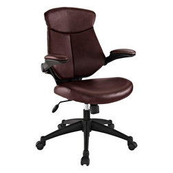 Modway - Stealth Mid Back Office Chair, Brown - Versatility to match your mood makes Stealth a prime choice in office seating. A cushioned removable leatherette back reveals a dynamic and ventilated counterpart beneath. Padded leatherette arms and seating combine with adjustable height and tension knob to create the ultimate in personalized decor. Hooded dual wheel casters allow effortless gliding across any surface. Instead of just choosing of chair, elect to inaugerate Stealth into your space, and your work will never be the same.