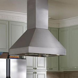 Vent-A-Hood - EPITH18-466 SS Island Range Hood with 1200 CFM Inline Blower and 2-Level Halogen - The Euroline Pro Series is a sleek European-style Island Chimney Hood which can provide a dramatic focal point in the midst of all the motion in your kitchen and is perfect for Pro Style Kitchen Set Ups This hood is available with 2-Level Halogen lig...
