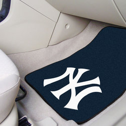 Fanmats - Fanmats New York Yankees 2-piece Carpeted Nylon Car Mats - Celebrate the New York Yankees' next win with this fun car mat set that features the team logo and colors. Made of long-lasting 100 percent nylon, these mats slip onto your vehicle floor to protect the carpet and add visual interest.