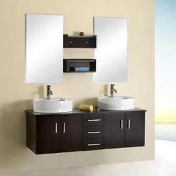 Virtu - Virtu USA Enya 59-in. Wall Mount Espresso Double Bathroom Vanity Set UM-3053 Dar - Shop for Bathroom from Hayneedle.com! A double-person bathroom is minutes away with the Virtu Enya Double Round Sink Wall Mount Espresso Vanity Complete Set. This functional practical set is a complete bathroom vanity in one package with everything you need included. Create a two-person space in your master bath in an instant... and give the whole room an updated look. This set consists of a wood base cabinet countertop two sinks two faucets with drains two wall mirrors and two wall-mounted storage shelves plus all installation hardware.The base cabinet is made from high-quality birch and veneer woods; it's constructed using a framing technique that gives it interior strength and the wood is first properly dried to prevent warping and cracking. The rich dark espresso finish is achieved using two coats of finish and a clear-coat layer which seals out moisture and prevents peeling and fading even in the high humidity of the bathroom. The cabinet contains handy storage in the form of three drawers and two cabinets with double doors (one on each side).Also included with this set are two faucets with pop-up back-mounted drain systems made from solid brass and finished in bright chrome. Two bowl-style double sink basins sit above the countertop for a totally modern look. The countertop itself is made from rubberwood a solid durable wood from the maple family. Finally two matching rectangular wall mirrors are included and mount easily above each sink along with two matching wood wall shelves for storage of needed accessories.The Enya Vanity Complete Set is designed to mount directly into the wall studs of your bathroom leaving the floor space open beneath for a light look and ease of use. Set it at the height you require for total comfort. All required installation hardware is included.Detailed Dimensions:Main cabinet: 59.1W x 19.7D x 19.3H inchesWall-mounted shelves (each): 17.2W x 