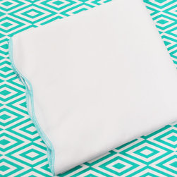 Oliver B - Turquoise 2-Piece Crib Bedding Set - Create a stunning space with Oliver B's Turquoise crib bedding set. Includes a diamond crib sheet in turquoise and white, and scallop flat panel crib skirt in white with Turquoise trim.