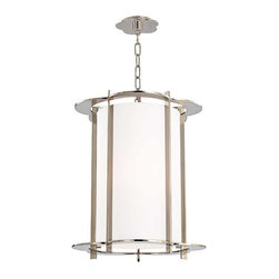 Hudson Valley Lighting - Hudson Valley Warwick I-5 Light Pendant in Polished Nickel - Hudson Valley Lighting's Warwick's I-5 Light Pendant shown in Polished Nickel. By the 1960s, a design evolution was gaining momentum. While continuing to embrace early modernism's enthusiasm for clean design, Mid-Century Modernists elevated expression and sculptural forms. Warwick enlivens a clean cylindrical shade with a floral-patterned cast metal frame. The playful curves of Warwick's outline complement its sleek vertical columns, for a look that is both fun and elegant.