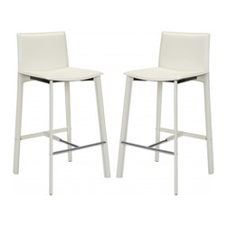 "Safavieh - Janet 30"" Bar Stool (Set Of 2) - Equal parts good looks and practicality, the 30 in Janet barstool complements kitchens and family rooms designed for comfort and chic contemporary style. With slightly flared legs, stainless steel foot rails and an iron frame completely upholstered in white bonded leather, Janet will deliver years of active family service."