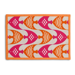 Pink & Orange Tropical Fish Tailored Placemat Set - Class up your table's act with a set of Tailored Placemats finished with a contemporary contrast border. So pretty you'll want to leave them out well beyond dinner time! We love it in this modern graphical motif of bright pink & orange tropical fish to punch up your patio.