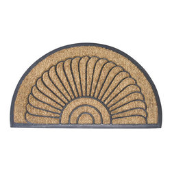 None - Shell Half-round Door Mat (18 in. x 30 in.) - Door mat makes a great accent for your front porchHalf-moon welcome mat features an elegant shell designArea rug is made of 100-percent natural coir