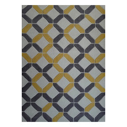 Rug - ~5 ft. x 7 ft. Grey/Yellow Floral Transitional Living Room Area Rug, Hand-Tufted - Living Room Hand-tufted Shaggy Area Rug