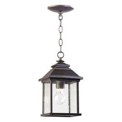Joshua Marshal - One Light Oiled Bronze Clear Seeded Glass Hanging Lantern - One Light Oiled Bronze Clear Seeded Glass Hanging Lantern