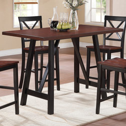 Coaster - Makelim Counter Height Table, Black/Walnut - Function is fashion with the Makelim collection. The rectangular-shaped table carries a black and walnut finish with natural distressing .The chair has clean lines, with a distinctive X back, sleek square tapered legs. Create a natural appearance in your home with this beautiful counter height table set.