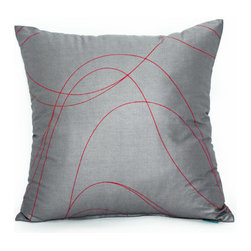 "Blooming Home Decor - Gray & Red Swirl Accent / Throw Pillow Cover - (Available in 16""x16"", 20""x20"",20""X54"")"