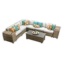 TKC - Royal 9 Piece Outdoor Wicker Patio Furniture Set 09a 2 for 1 Cover Set - Features: