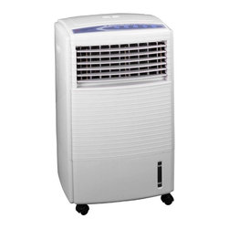 SPT Appliance - Sunpentown Mobile Evaporative Air Cooler w Io - With remote control. 10L water tank capacity. Nylon and Photocatalystic filter. Three air speeds: H / M / L. Sleep mode. Timer: from 0.5 - 7.5 hours setting. Ionizer to purify air. ETL. Input voltage: 120V / 60Hz. Power consumption: 60 W. Ion density: 2,800,800 ~ 3,000,000/CM3. 16 in. W x 12 in. D x 25 in. H (17 lbs). Air flow: 23 ft per second. Water consumption: 0.6 ~ 0.7 liters per hourThis Evaporative Air Cooler, Humidifier, and Fan with Ionizer is versatile, lightweight and economical. The Cooler easily rolls from room to room for use anywhere in your house or office. This Air Cooler shoots a stream of air with oscillating louvers, to evenly distribute refreshing cool air. Can also be used as a fan or humidifier if temperature is not an issue. - plus get the air cleaning benefits of the ionic air purifier. The remote control allows you to easily change settings.The Air Cooler works by endothermic reaction (a reaction that consumes heat), so this evaporative Air Cooler sucks air through a wick saturated with water. As the air flows through the wick, some of the water evaporates into the air, consuming the heat that was in the air. An air stream is then blown out the front of the unit and is considerably cooler than the current room temperature! This is not an air conditioner and therefore uses much less energy.
