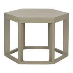 Safavieh - Heidi End Table - Pearl Taupe - Inspired by the sculptural elegance of the legendary Noguchi side table, the Heidi End Table is the perfect example of contemporary form and style. The simple lines of its six sides are complemented by its open foundation, offering a place to hold your highball while keeping a room open and visually uncluttered. Crafted with Bayur wood in pearl taupe painted finish.