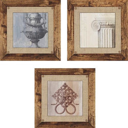 Paragon Decor - Elegance I Set of 3 Artwork - Giclees feature hand painted bevels and burlap fabric matting with decorative tacks.  Frame is hand stained and distressed.