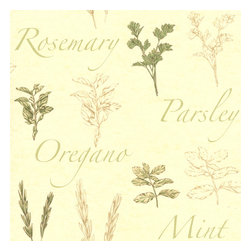 Brewster - Fresh Herbs Light Green Herbs  Wallpaper - Perfect for your kitchen, this pretty wallpaper features images of all your favorite herbs. Its delicate design is bound to inspire you to feats of culinary delight.