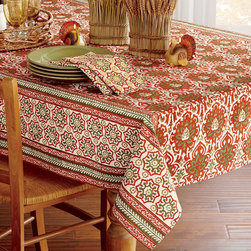 "Origin Crafts - Masala block print tablecloth 84"" x 60"" - Masala Block Print Tablecloth 100% cotton tablecloth features a rich, vibrant block print design in warm harvest jewel tone colors. Inspired by world traditions, this tablecloth is a great way to spice up your everyday dinnerware. Block print process means that every tablecloth has a unique,"