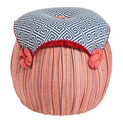 Salmagundi - Salmagundi Bright Geometric Tuffet - If you have a little space and a big need for extra seating, this might just be what you're looking for. Fun, colorful and comfortable, this one-of-a-kind ottoman does doubles duty for one price.
