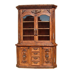 Mexican Artisans - Mesquite Conchas Carved Kitchen Hutch - Indeed Decor's extraordinary Mesquite Conchas Carved Kitchen Hutch will be a spectacular addition to your kitchen or dining room.  This exquisite work of art is large enough to store all of your entertaining essentials and measures 55″W x 84″H x 24″D.
