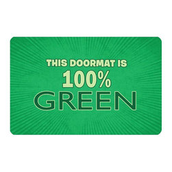 Bungalow Flooring - 100% Green Cushion Mat - Made to order. Graphic mat adds comfort and style. Machine washable. For indoor use. 18 in. L x 27 in. W x 0.3 in. H