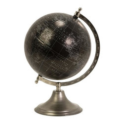 IMAX Worldwide Home - Moonlight Globe With Nickel Finish Stand - Decorate your office space with this black and silver globe. Desk Accessories. 13 in. H x 9 in. D. 50% Galvanized Iron, 40% Plastic, 10% Paper