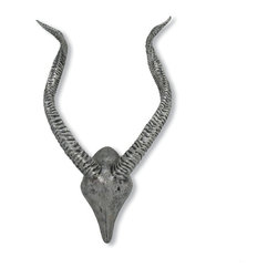 Palecek - Antelope Horn Wall Decor, Silver - Polyresin is cast to form an antelope head and horn wall decor finished in antique silver. Two keyhole hangers on the back.